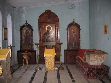 Abkhazia, village Kamany, Mount of Olives, St. John Chrysostom, the Church Transfiguration, the martyr, St. Basilisk